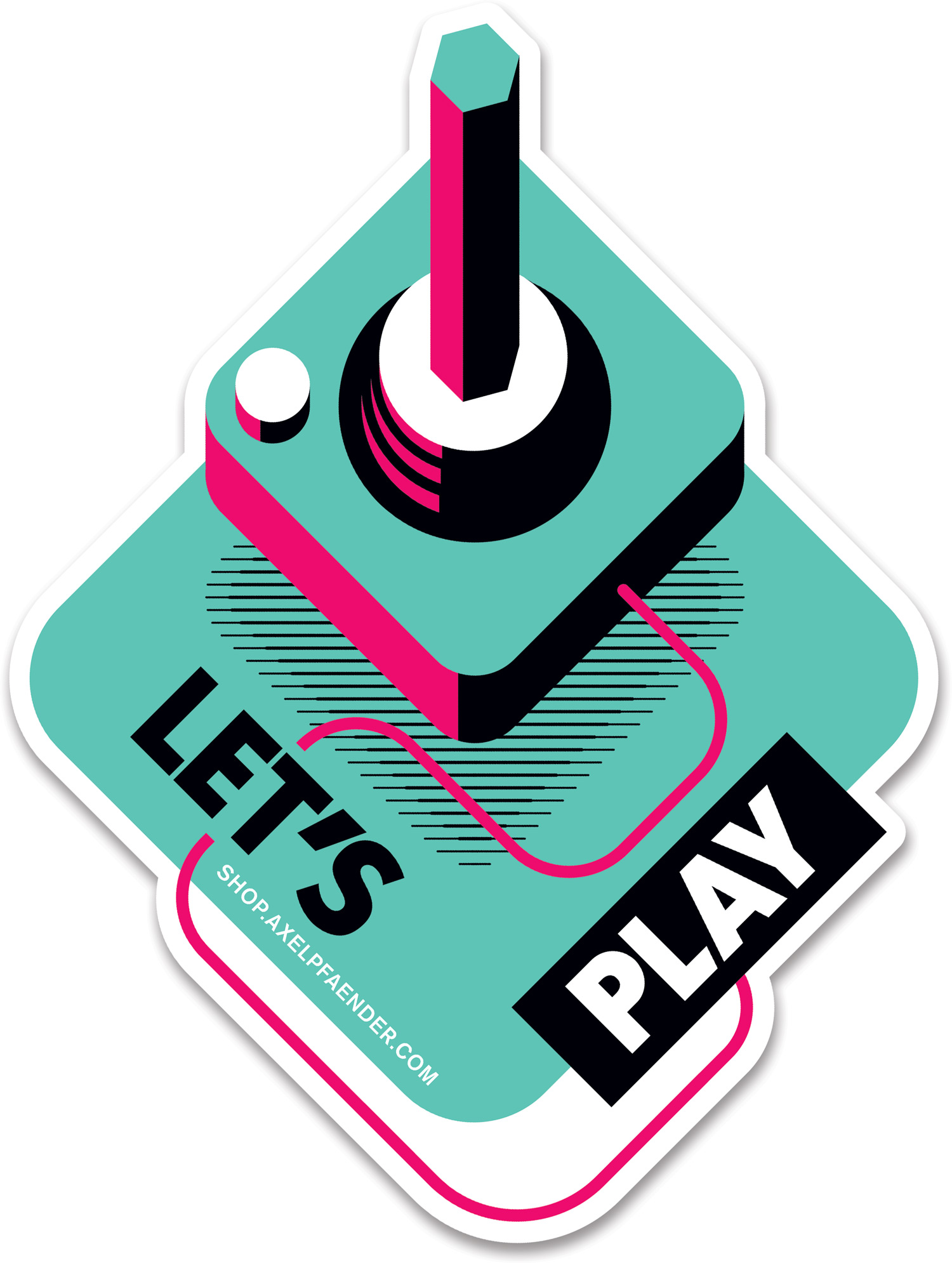 Let'S Play by Axel Pfaender. Retro Atari Joystick Design for Sticker.