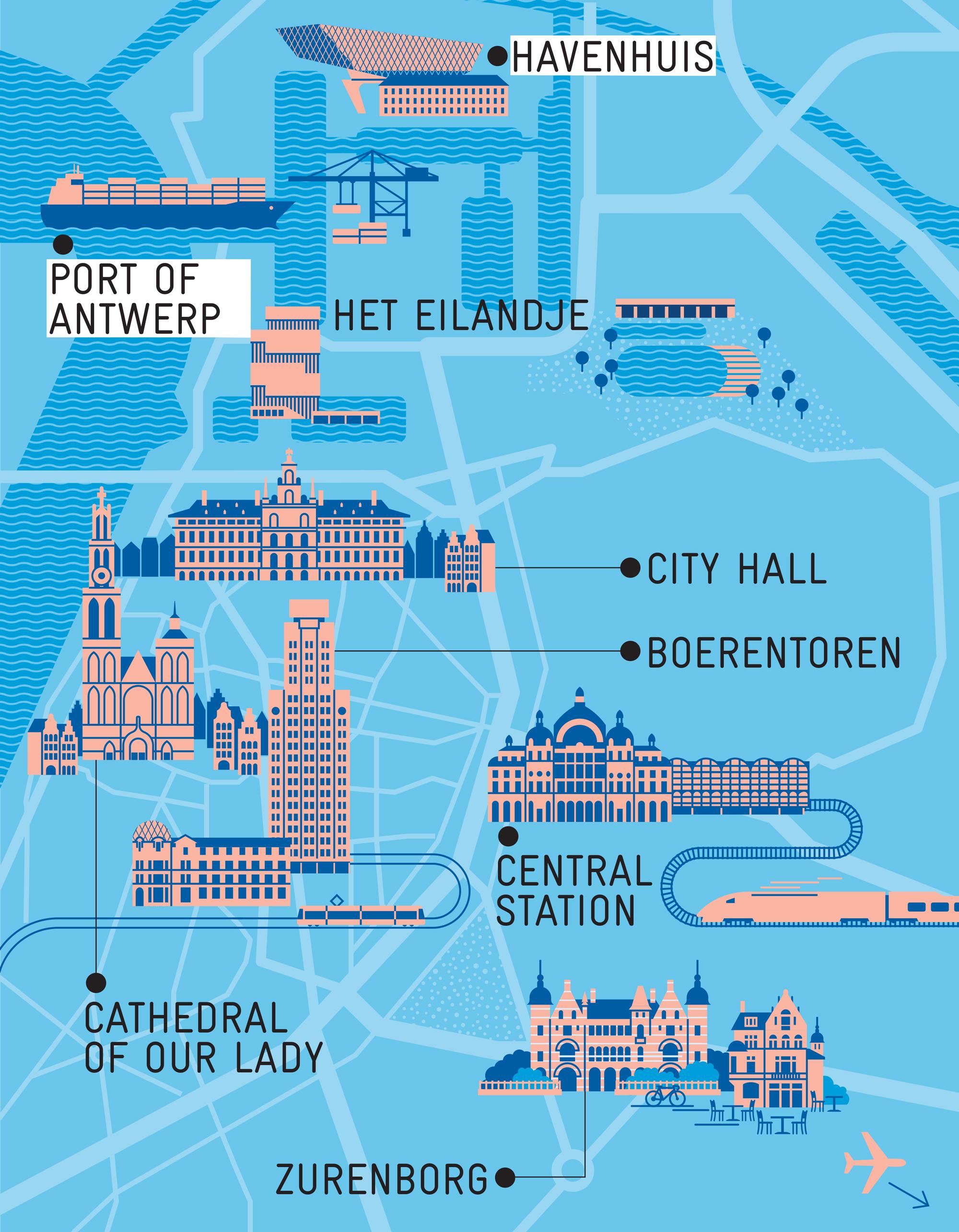 Stadtplan von Antwerpen für Monocle Magazin