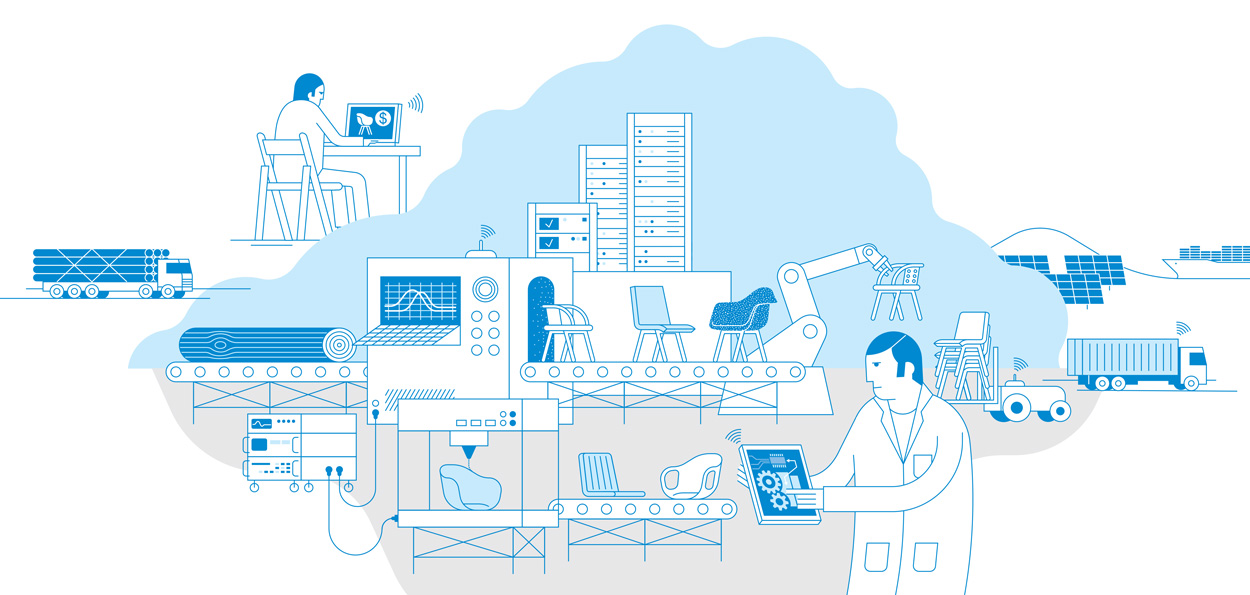 Industry 4.0, illustration by Axel Pfaender for Fondsmagazin, Deka Investment