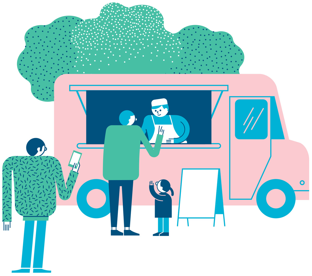 Illustration of a food truck for Green City, a real estate development project in Zürich, Switzerland.