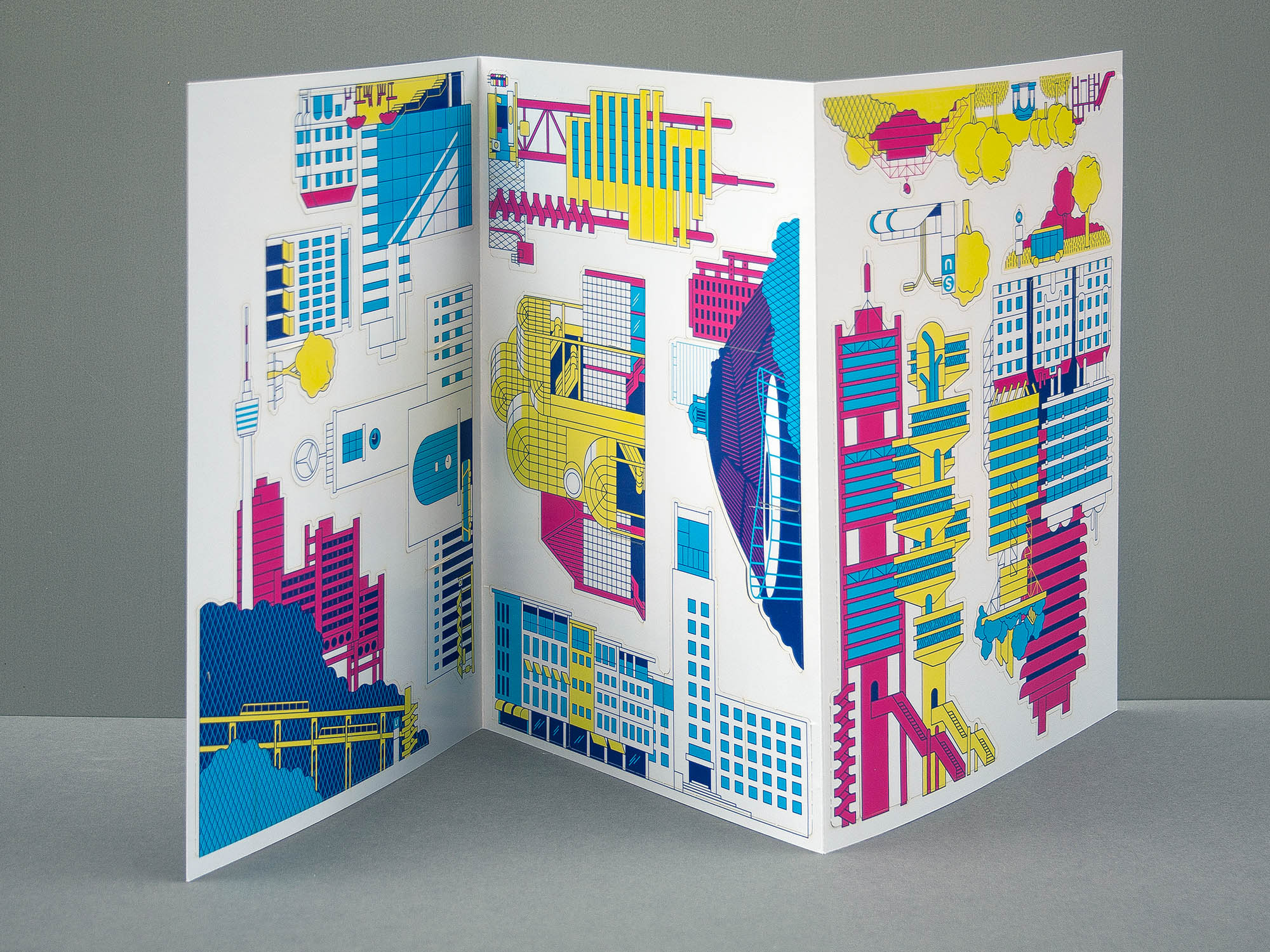 papercraft pop out architecture kit of brutalist and futuristic city. Designed by Axel Pfaender.
