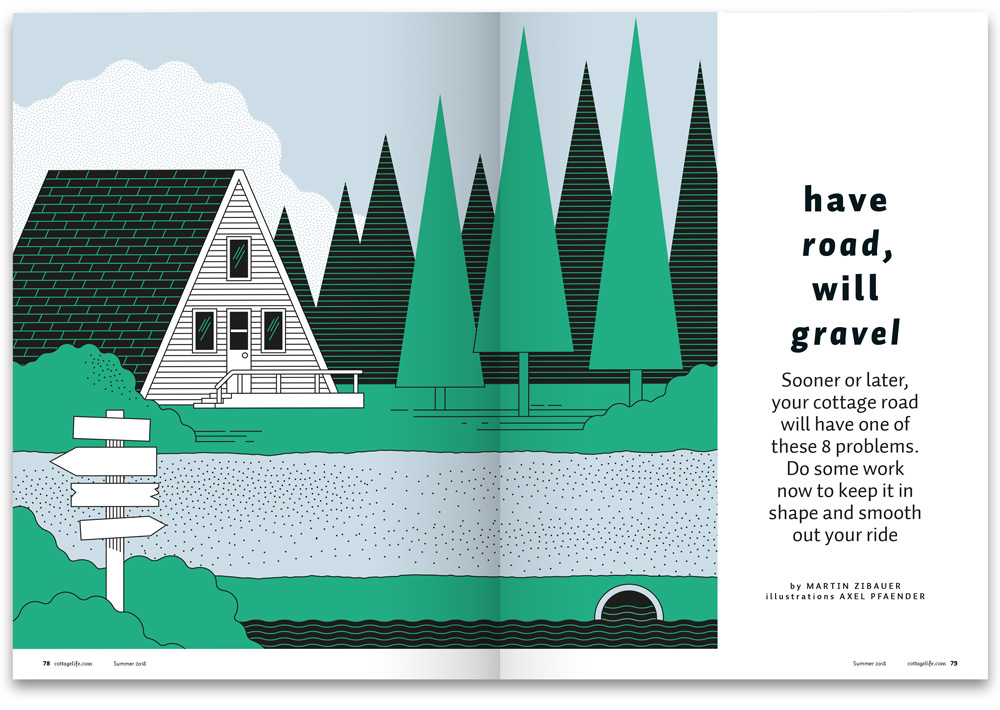 illustration of A-frame cottage in Canada with trees and gravel road