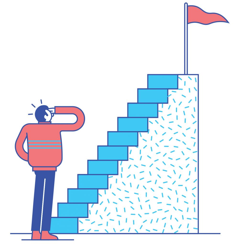 Illustration of man looking at steep stairs