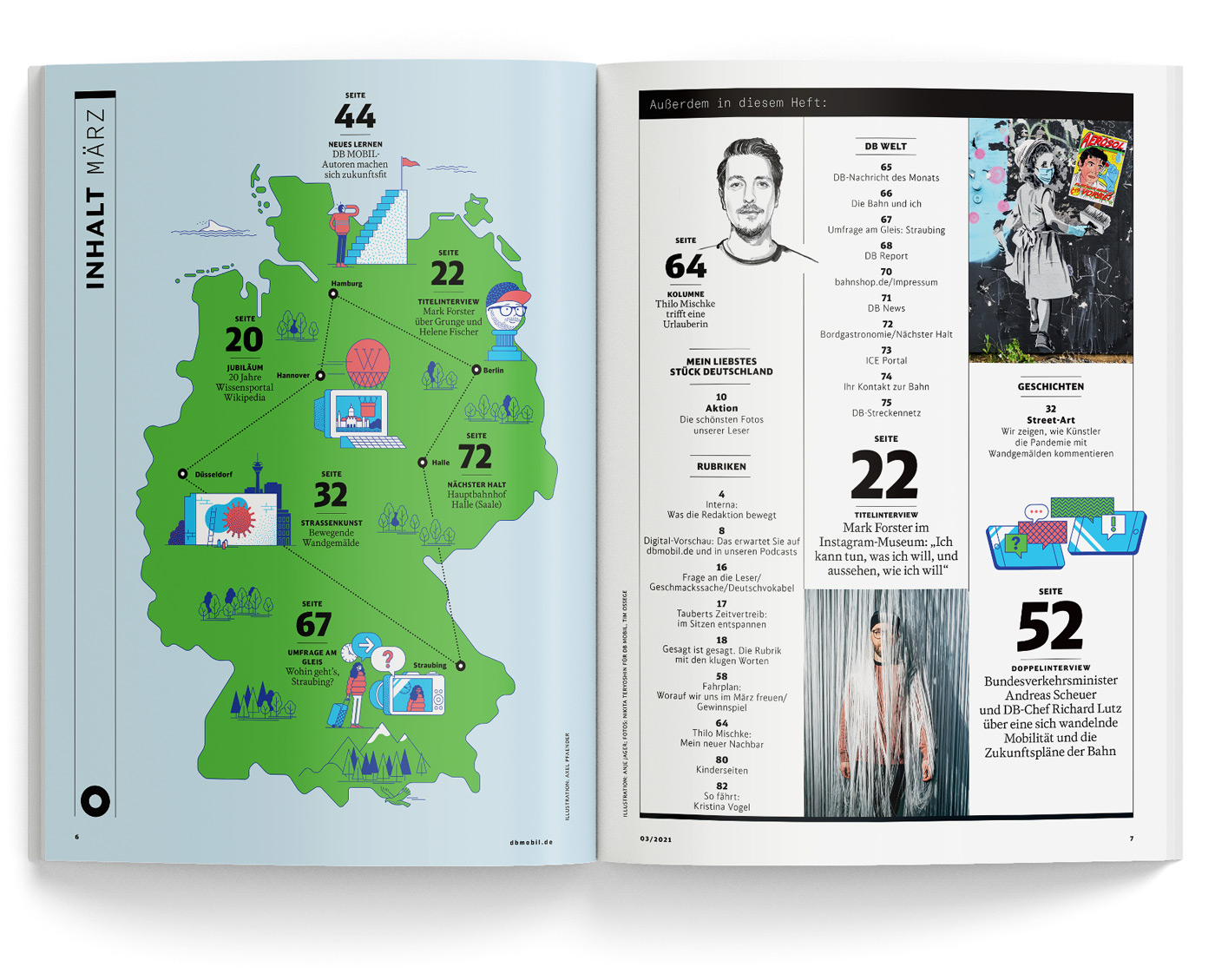 Spread of DB Mobil magazine content page