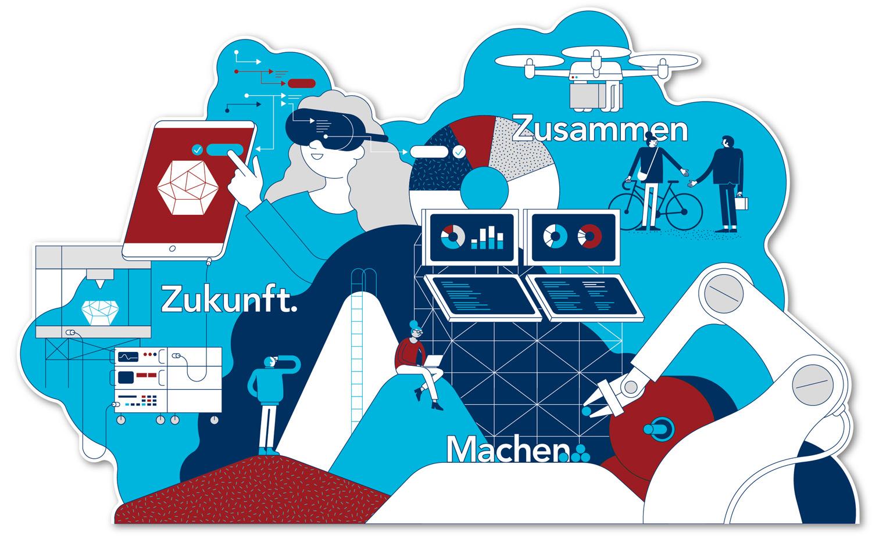 Illustration von Axel Pfaender für INNOPORT Reutlingen.