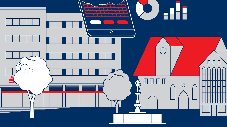 Illustration von Axel Pfaender für INNOPORT Reutlingen und Kreissparkasse Reutlingen.