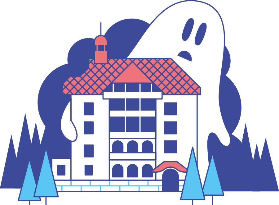 Haunten hotel Waldlust in black forest with ghost. Illustration by Axel Pfaender for Deutsche Bahn.