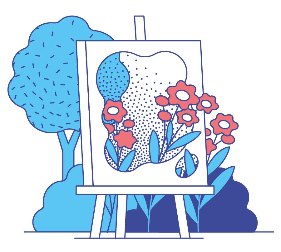 Garden scenes with flowers. Illustration by Axel Pfaender for Deutsche Bahn.