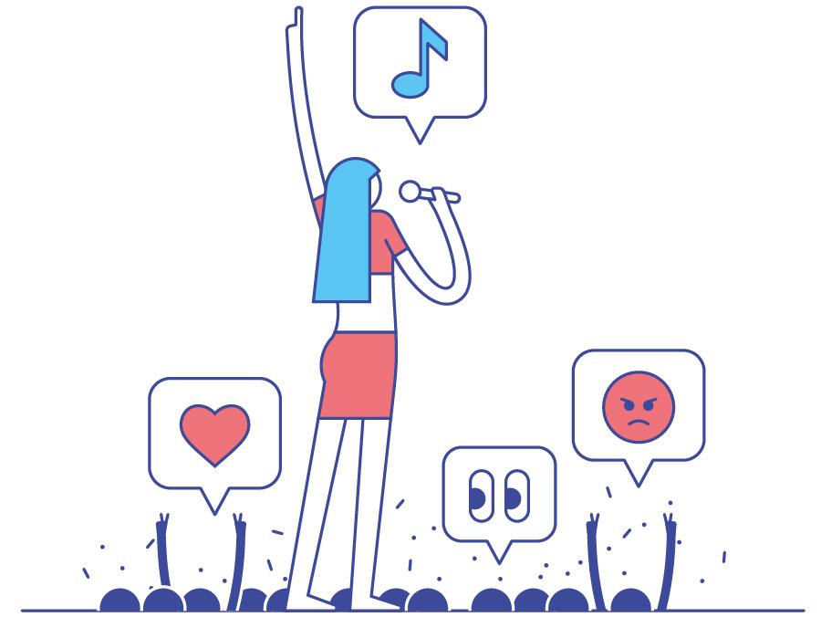 Vanessa Mai Concert scene with Emojis. Illustration by Axel Pfaender for Deutsche Bahn.