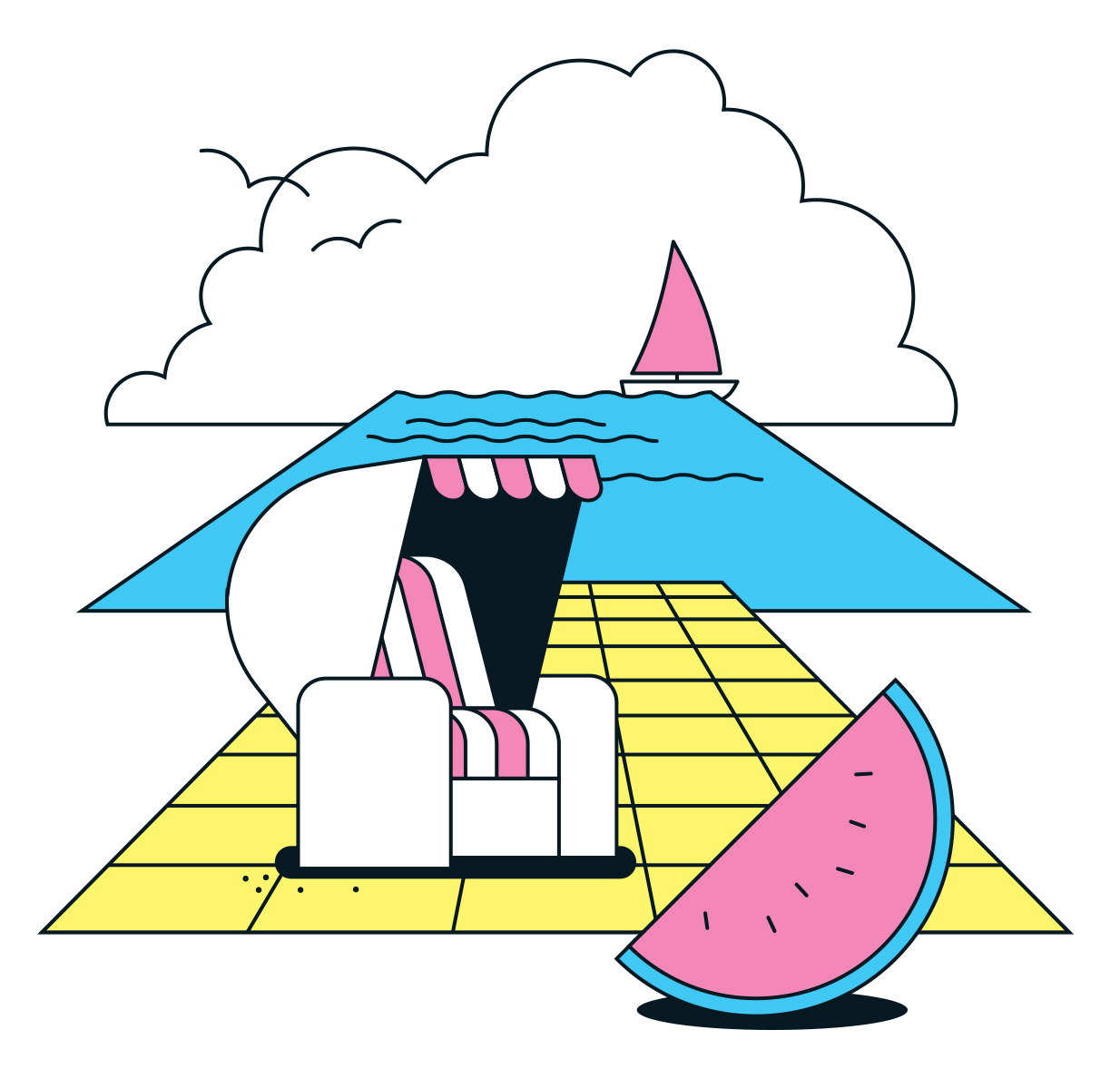 Abstract beach scene with melon and seagulls in retro style. Illustration by Axel Pfaender for Deutsche Bahn.