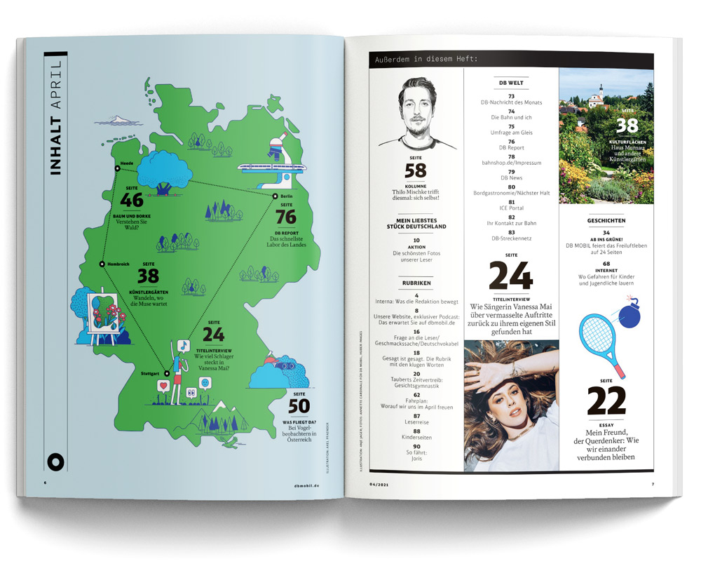 Magazine spread of DB mobil issue April 2021 with illustrated map of Germany. Illustrations by Axel Pfaender for Deutsche Bahn.