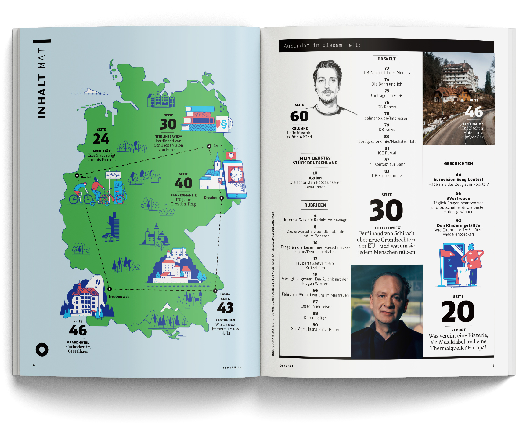 Magazine spread of DB mobil issue May 2021 with illustrated map of Germany. Illustrations by Axel Pfaender for Deutsche Bahn.