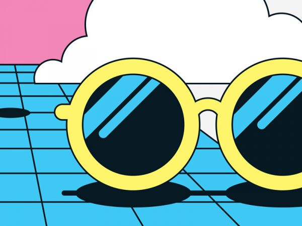 retro illustration of sunglasses by Axel Pfaender for DB mobil