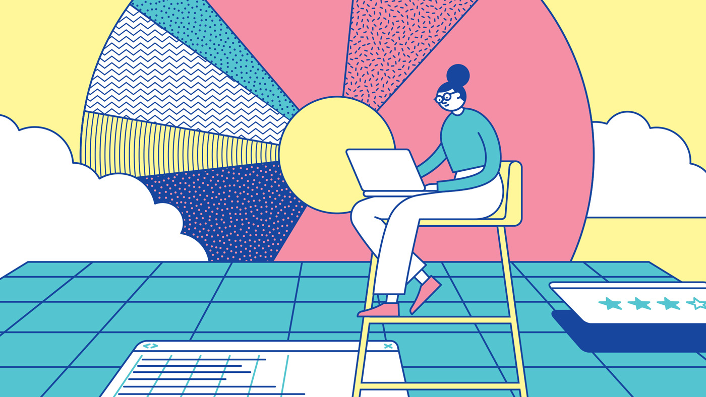 Woman with laptop sitting above abstract diagrams